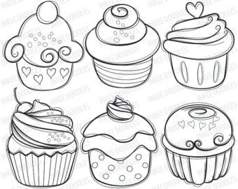 Drawn cake small Stamps cupcake food Best Pinterest