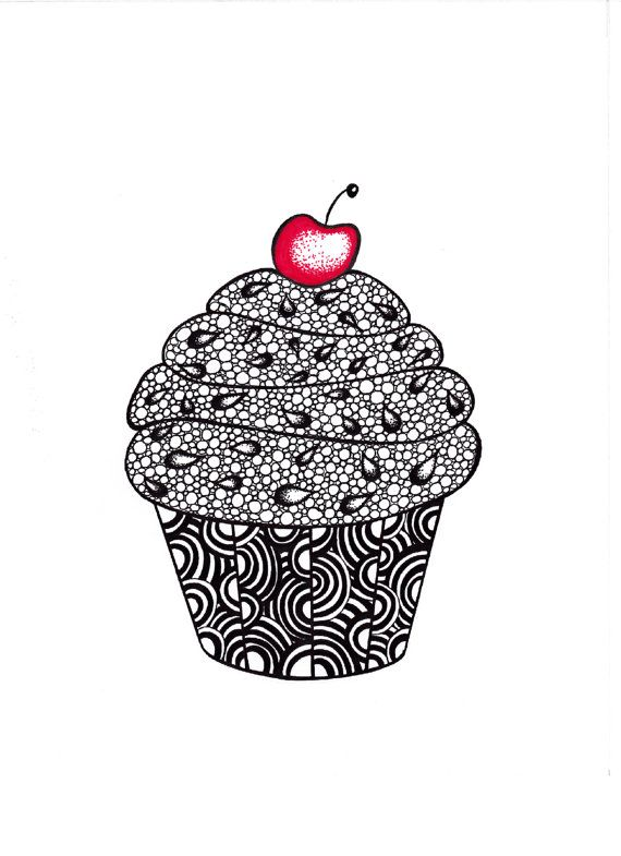Abstract clipart cupcake Inspired by Ink drawing Art