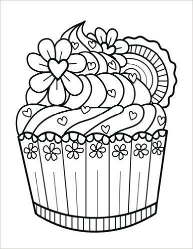 Drawn cupcake blank Notebook Coloring Pinterest Zentangle +