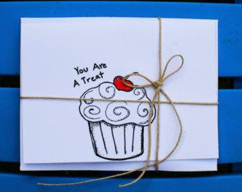 Drawn cupcake blank Because Handmade drawn Greeting hand