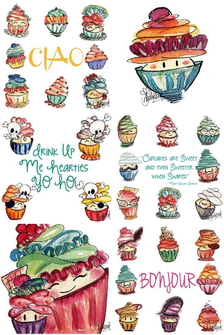 Drawn cupcake cake art Drawings by Cupcake on Lubrano