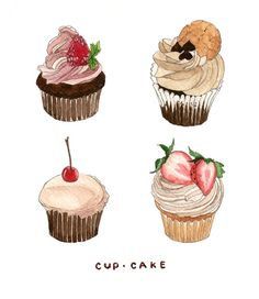 Drawn cupcake cake art Drawings/watercolor · Art moonfruit Sartain