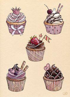 Drawn cupcake cake art Pin by Tooth!! Sweet Art