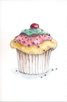 Drawn cupcake cake art // Encontrado 3 made