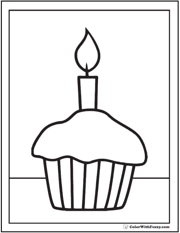Drawn candle coloring page Candle Pages: Cupcake Coloring Customize