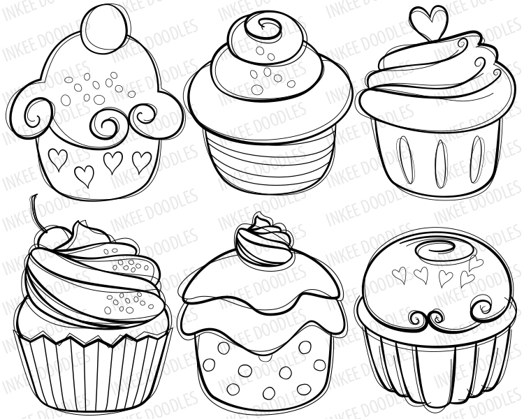 Drawn cake cherry Drawn food Hymn hand cupcakes