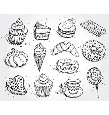 Drawn hand brain Confectionery set cupcake confectionery drawn