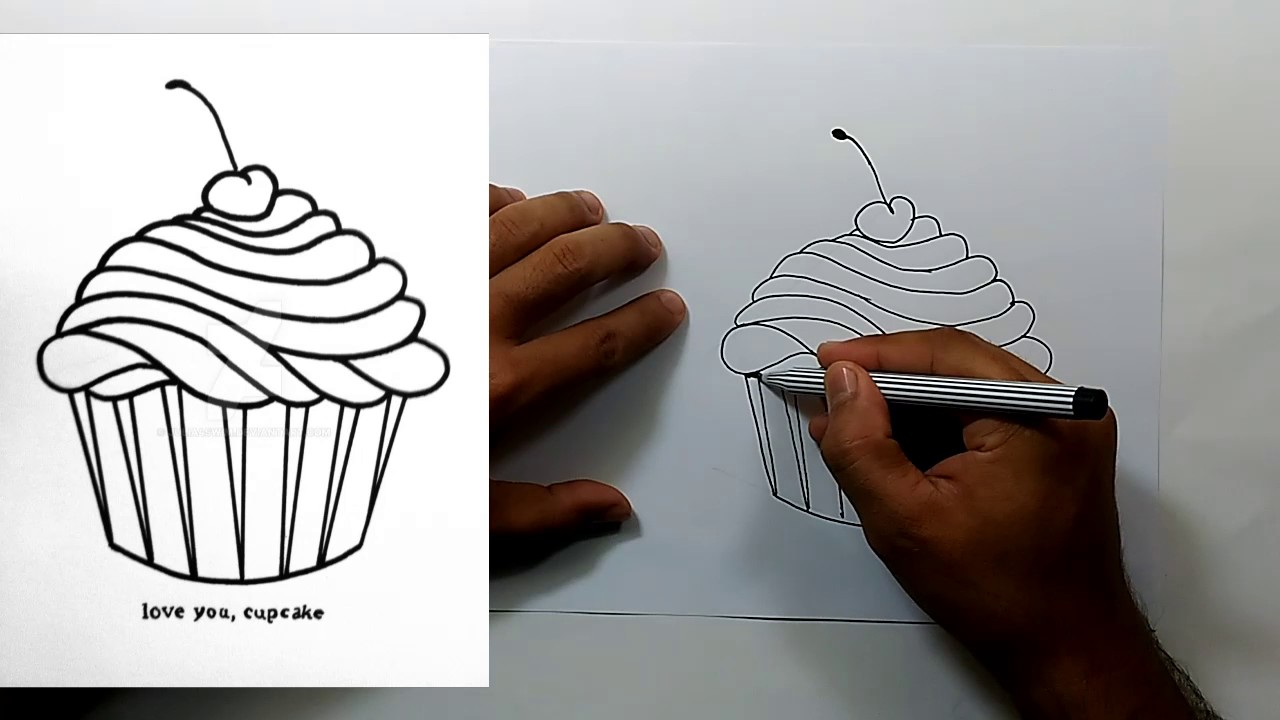 Drawn cake ice cream cake Step YouTube to Cake Cup