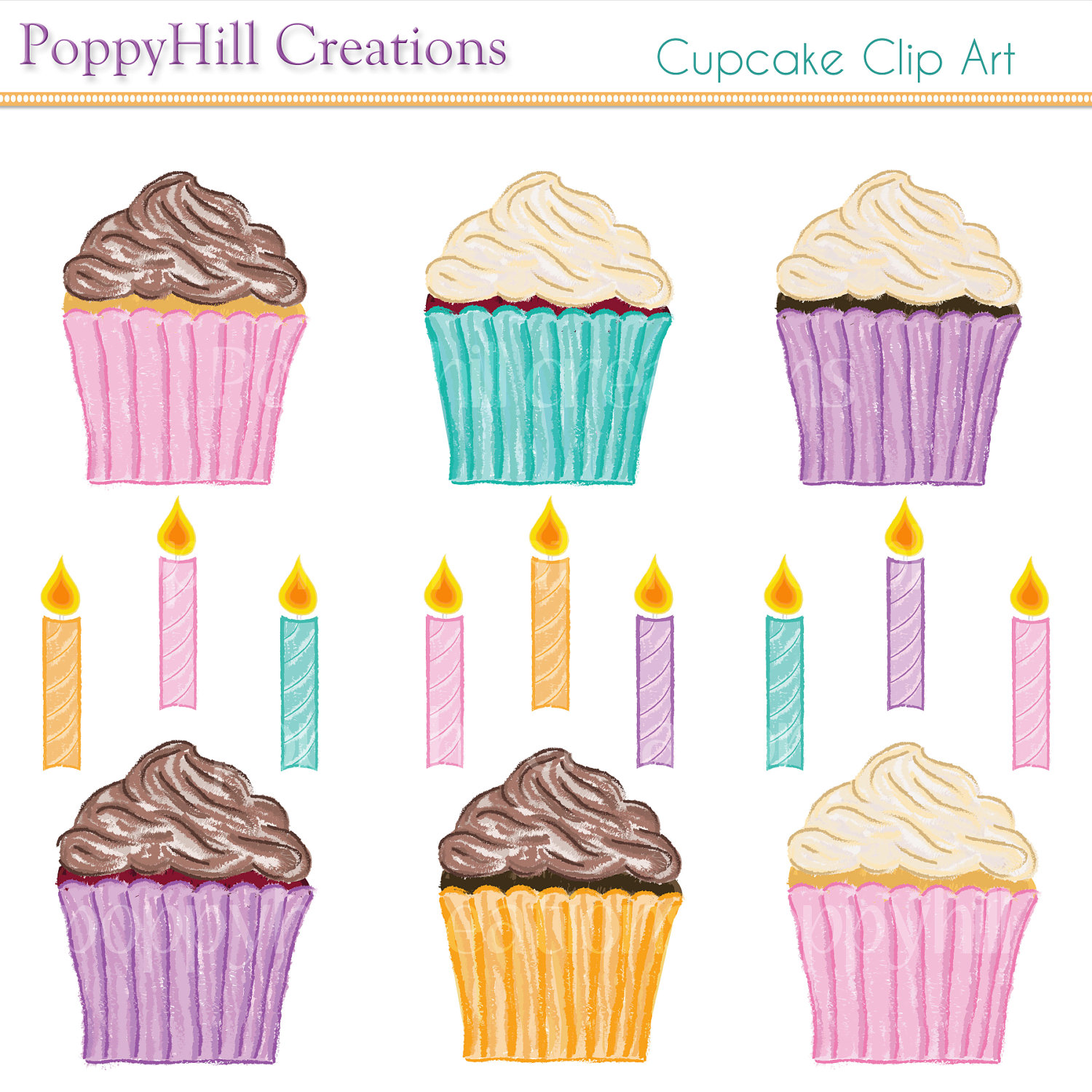 Vanilla Cupcake clipart candle clipart INSTANT Hand and Digital DOWNLOAD