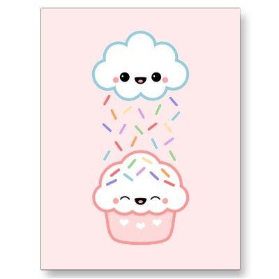 Drawn clouds cute Cupcake Cupcake on Cards drawing