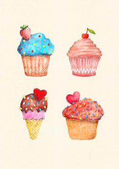 Drawn sweets realistic Print art wall red and