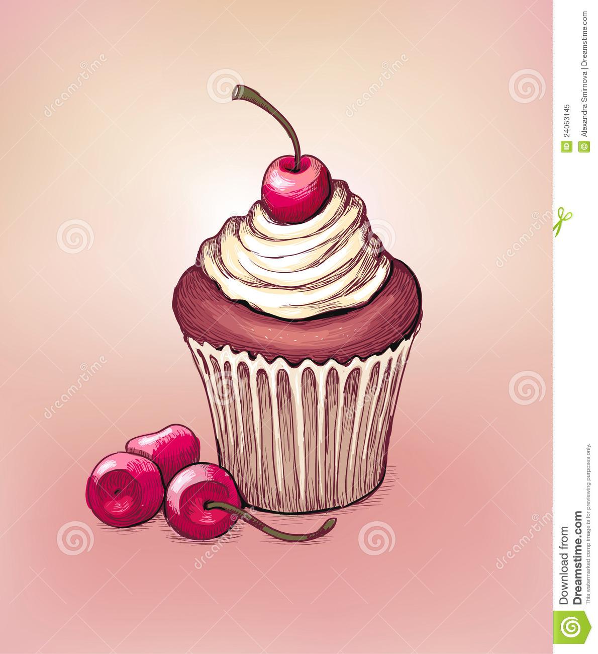 Drawn cake cherry Mice icecream print Digital cherry