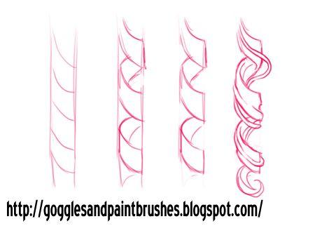 Drawn curl To draw: Drawing curls Pinterest