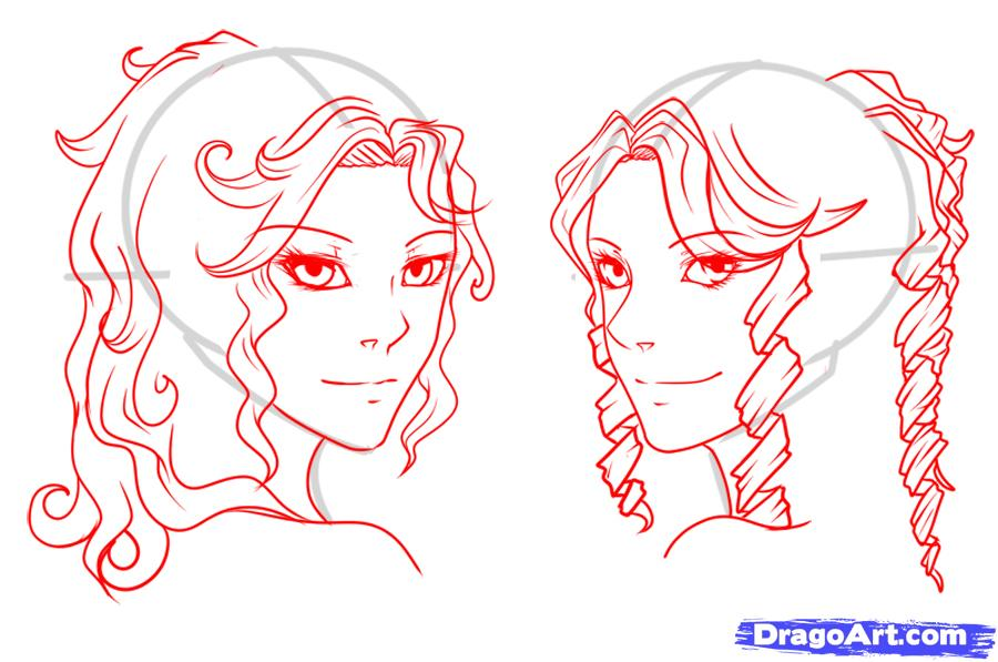 Drawn curl Hair Curls step 8 to