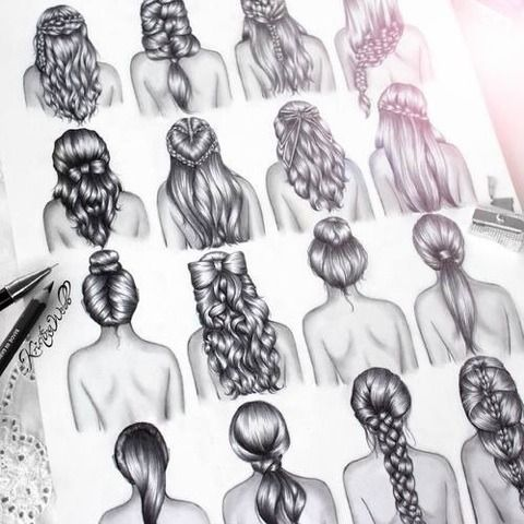 Drawn braid pencil drawing Images Pinterest 136 on curly