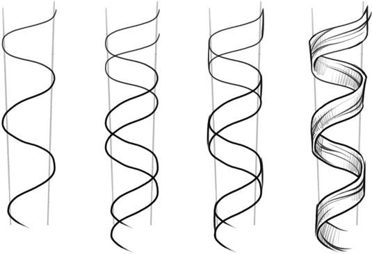 Drawn ribbon curl Basic hair Draw curly Drawing