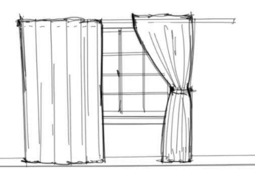 Drawn curtain #7