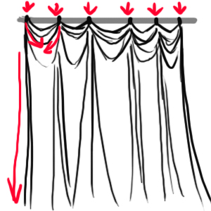 Drawn curtain folded #10