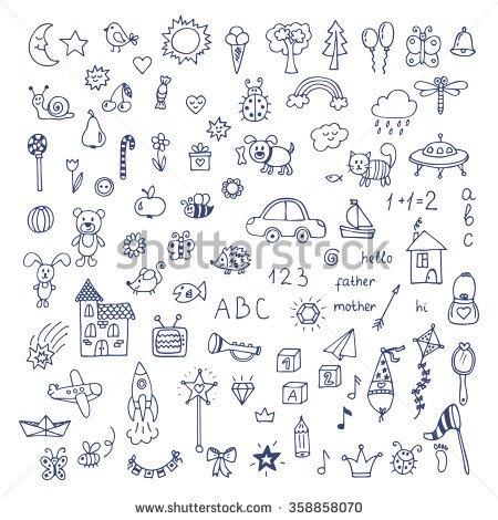 Drawn cute Cute doodles set doodle drawn