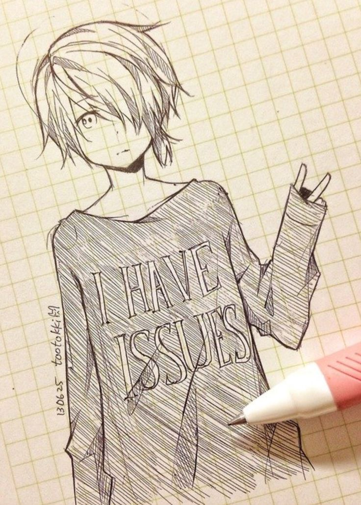 Drawn cute anime Cute sweater have sketch Anime