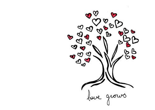 Drawn hearts simple Grows  Wedding Love Tree