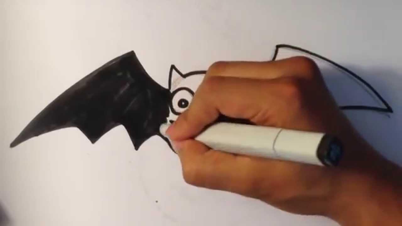 Drawn cute bat  to Halloween a YouTube