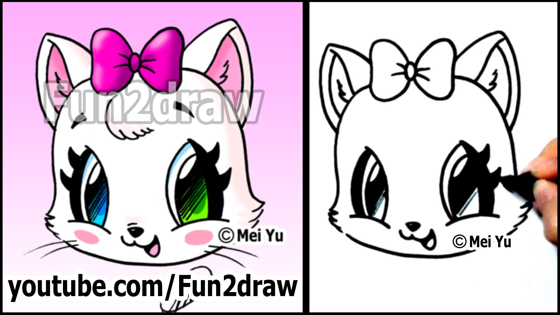 Drawn cute cat To with Face Cat How