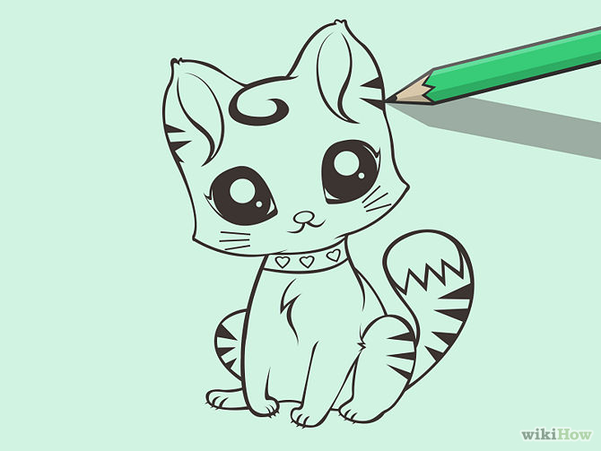 Drawn cute cat A (with 8 to Draw