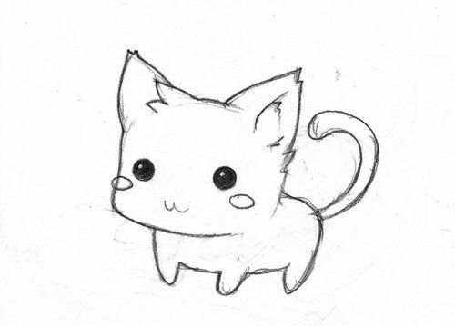 Drawn kitten easy #2