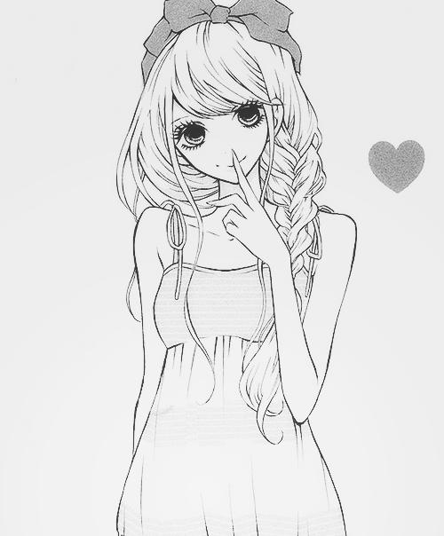 Drawn cute girlfriend tumblr Black girl manga Monochrome and