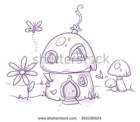 Drawn mushroom Magic illustration house Hand or