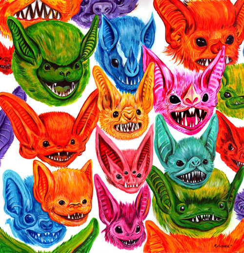 Drawn cute vampire bat Illustration horror pastel happy art