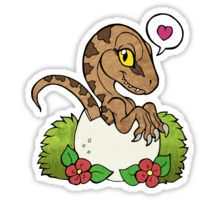Drawn cute velociraptor Kawaii Stickers by Redbubble hatching