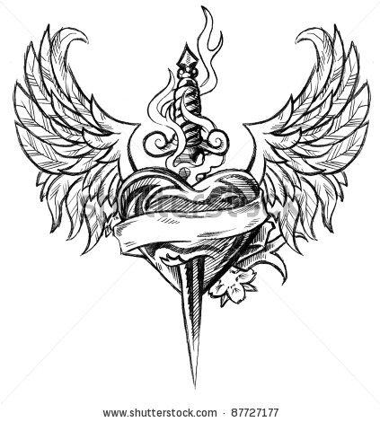 Drawn hearts sword Dagger Design JOVictory by deviantart