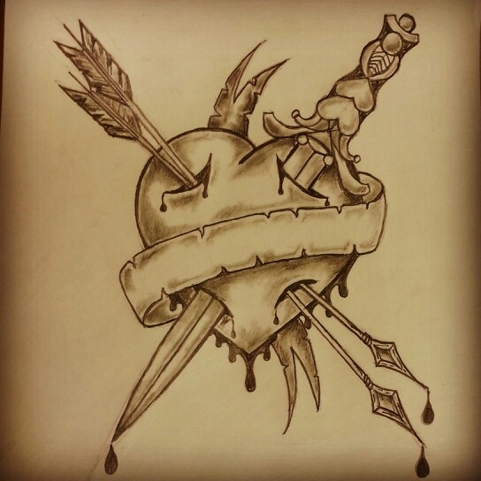 Drawn dagger heart dagger Tattoo and Google heart tattoo