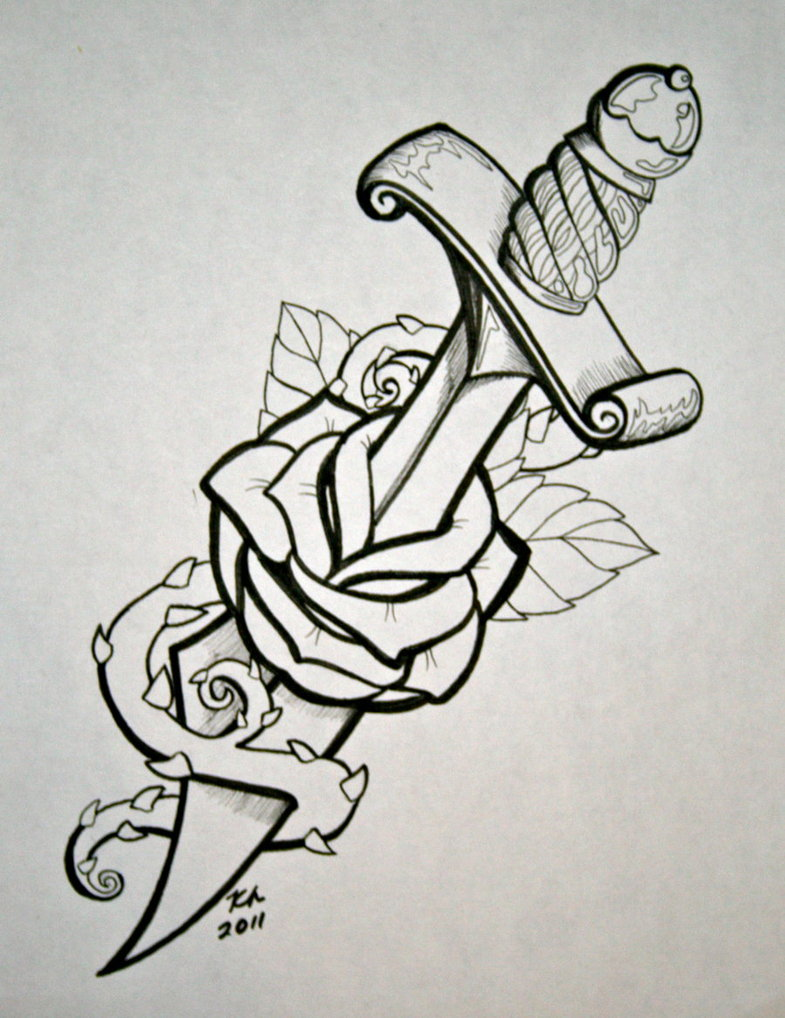 Drawn dagger heart dagger Rose on Dagger knezak by