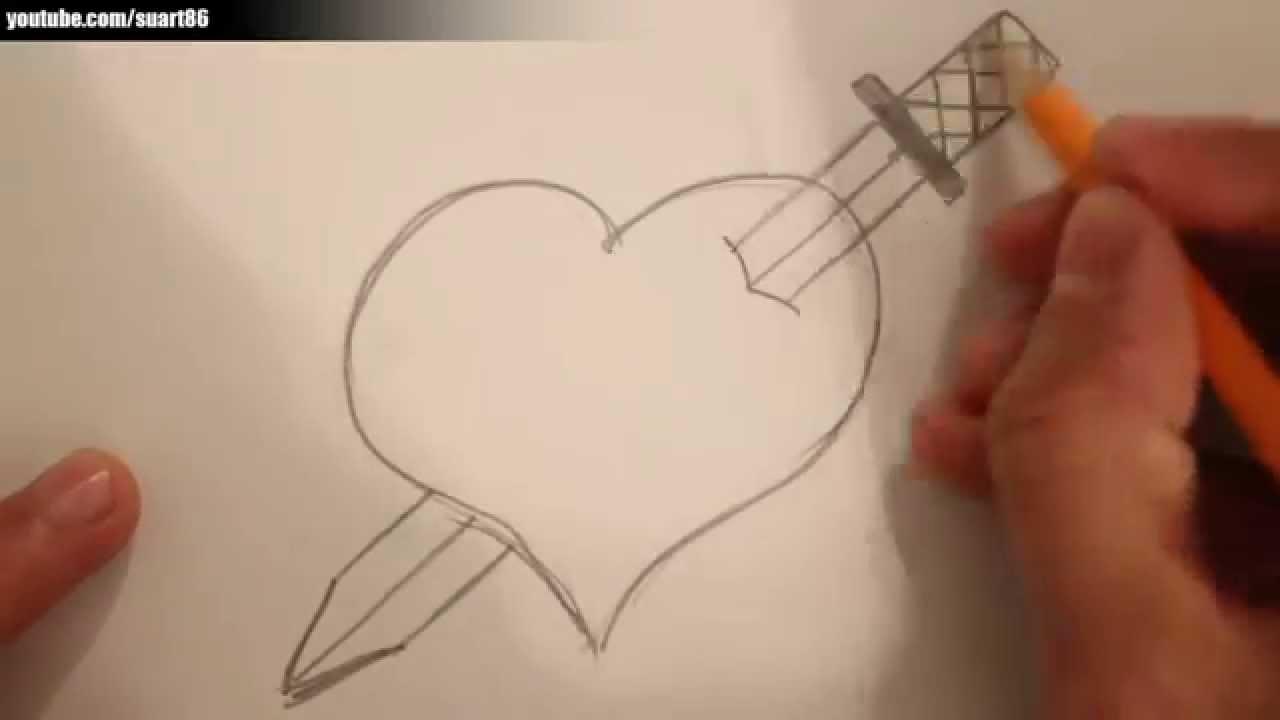 Drawn hearts sword Draw heart YouTube it How
