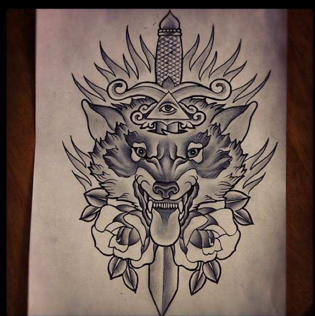 Drawn dagger wolf Traditional best The wolf traditional