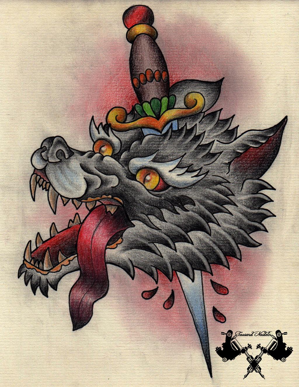 Drawn dagger wolf  sketch com Nadeln tattoo