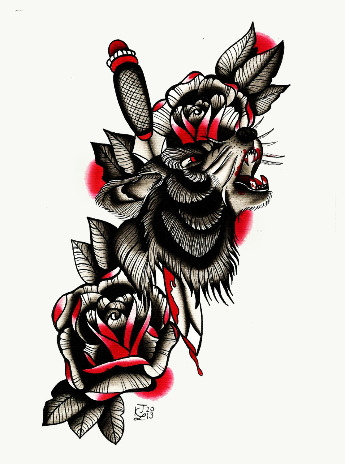 Drawn dagger wolf  school roses and New
