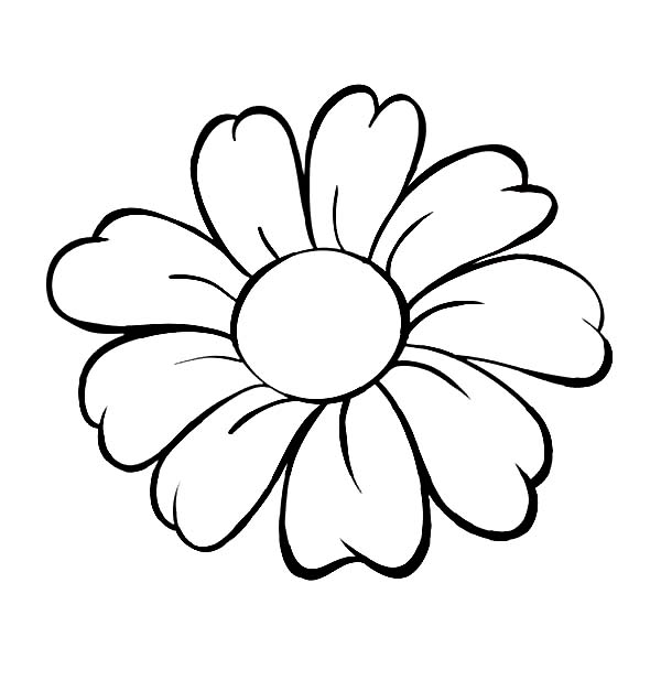 Petal clipart flower coloring Flower : Page Daisy Outline