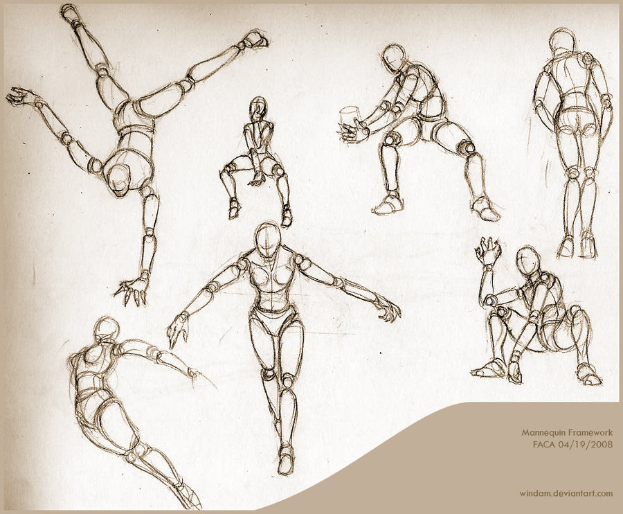 Drawn figurine practice Mannequin for Framework Guide Reference