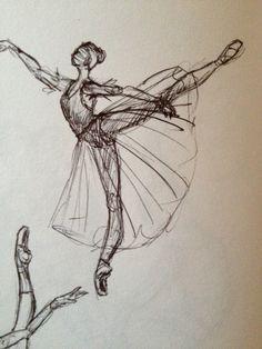 Drawn ballerina ballet arabesque Ballerina the Dancer barre MGV