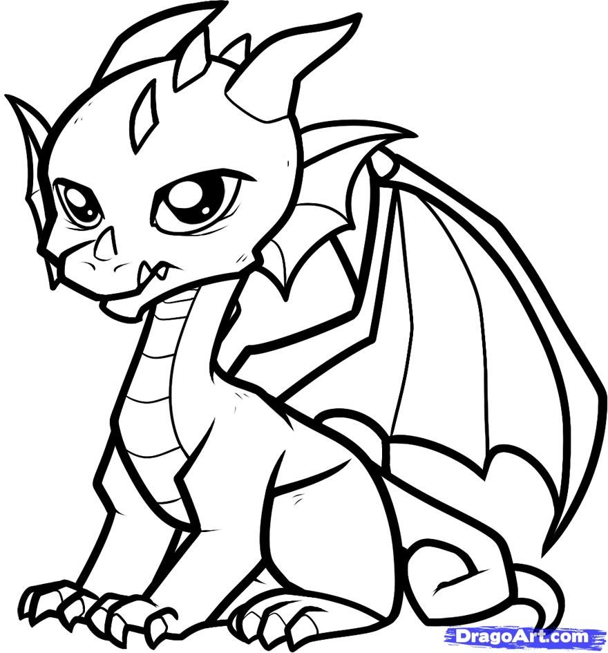Drawn simple dragon Download Get free Pages Cute