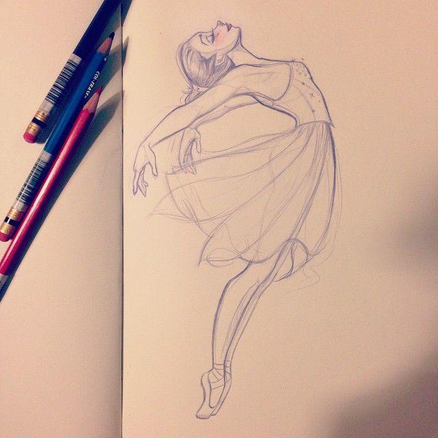 Drawn ballerine sketch Pinterest 25+ DrawingDancer sketch Dancer