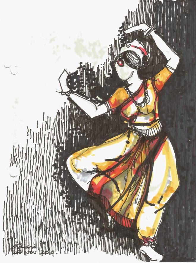 Drawn palace dancer India to Kathak Sahu Dance