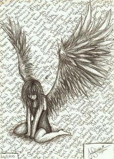 Drawn sad demon She pain Search fallen Sad