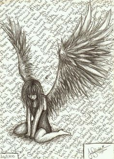 Drawn sad demon Is couple fallen Sad angel