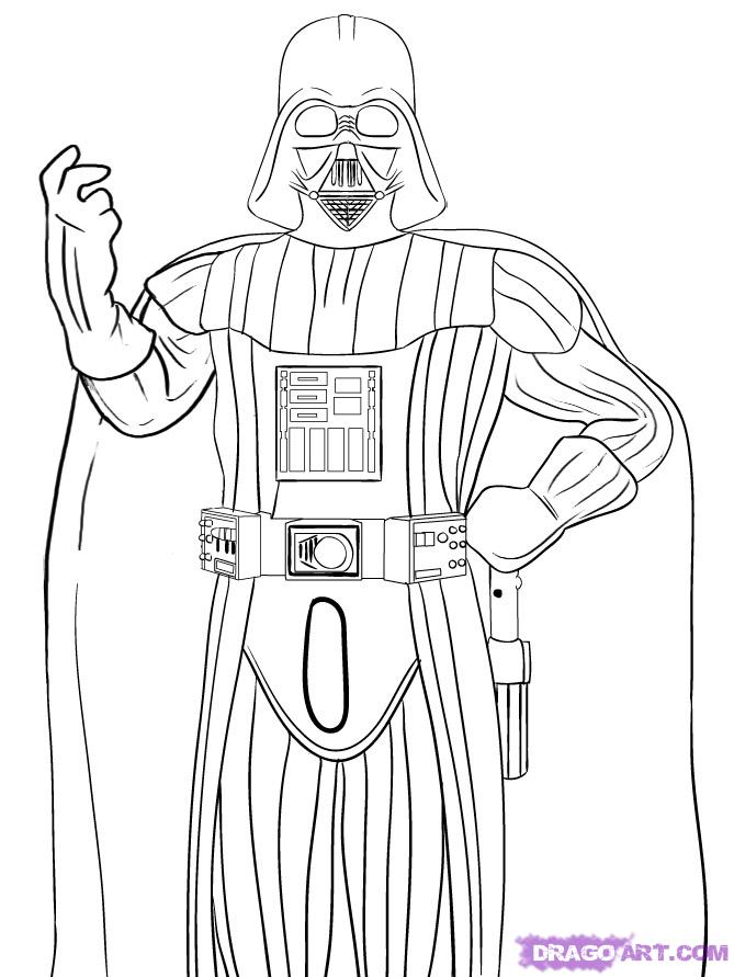 Drawn star wars full body Step 6 Vader Step to