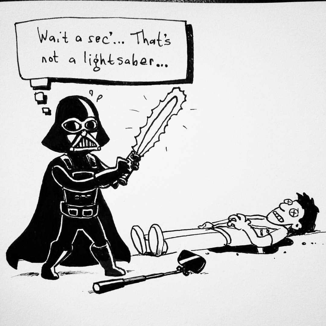 Drawn selfie funny cartoon  #lightsaber #lol #selfiestick #lightsaber